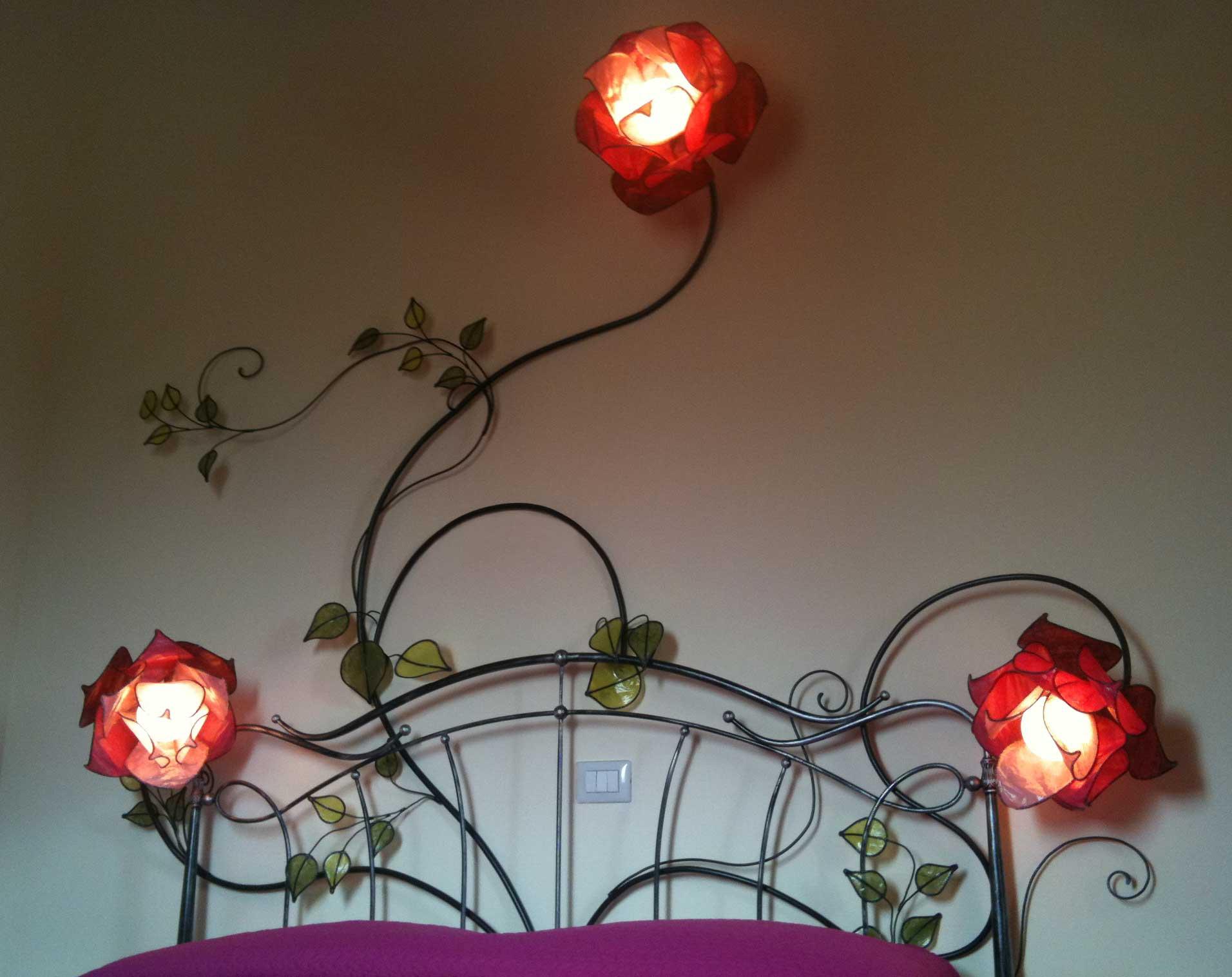 Rose ramo con spalliera del letto applique lampadani