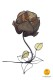 flower-shaped table lamp brown