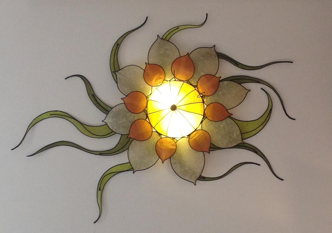 Plafoniere Con Foglie : Margherita con foglie plafoniera lampadani