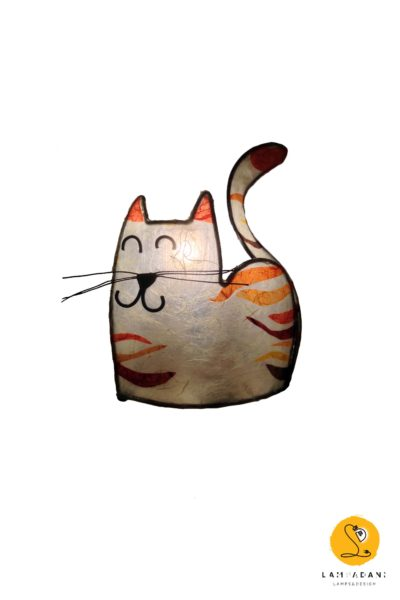 cat-shaped table lamp white and orange
