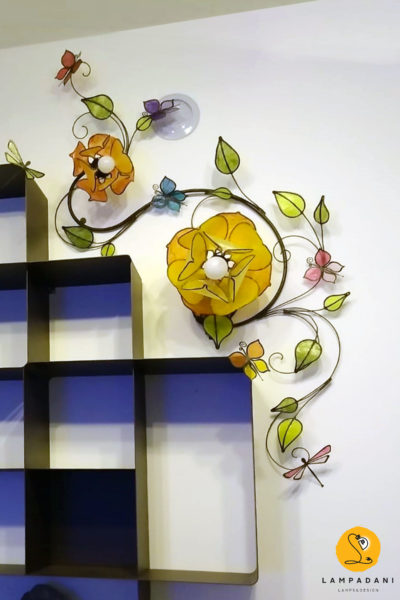wall-light-branch-shaped-with-lotus-flowers-dragonflies-and-butterflies
