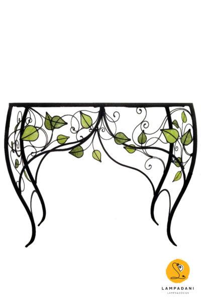 Tavolo consolle decorato con foglie e riccioli